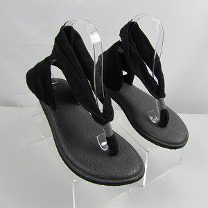 Sanuk Yoga Sling Sandals Black Size 8